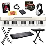 Casio Privia PX-160 Digital Piano Bundle with Stand, Bench, Dust Cover, Sustain Pedal, Headphones, Book, and Austin Bazaar Instructional DVD - Gold