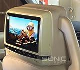 Sonic-Audio-hr-7a-Universelle-Kopfsttze-in-Leder-Optik-fr-den-Autositz-fr-Wiedergabe-von-DVDMultimedia-Kopfsttze-mit-BildschirmMonitor-mit-USB-AnschlussSD-Slot-und-Spielen--inkl-2-x-Kopfhrer-kabellos-
