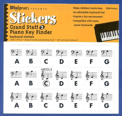 Gs2 Piano Key Finder Stickers - Grand Staff 2 Piano Keyboard Stickers Labels Decals