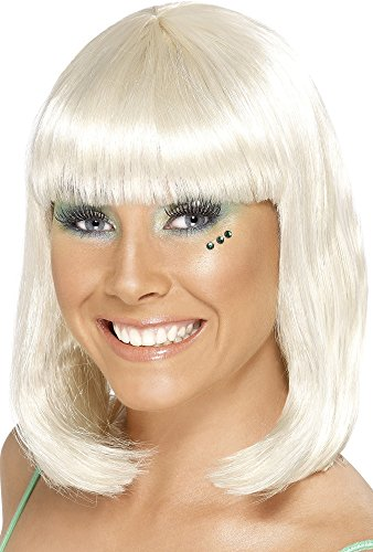 Smiffy's Women's Party Wig Blonde Short with Fringe, Blonde, One Size