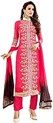Awesome Women's Georgette Unstitched Dress Material (Pink)