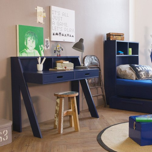 Kinderschreibtisch / Schreibtisch MARCELLUS, Kiefer, dunkelblau, Breite 112cm kaufen