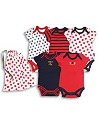 The Essential One Baby Pack Of 5 Bodysuits Onesies up to 7lbs Navy Red