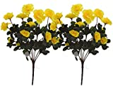 Fourwalls Artificial Mini Azalea Flower Bouquet (34 cm, Yellow, Set of 2)