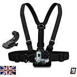 micros2u Gopro Chest Chesty Harness Mount for all Gopro Hero 4, 3, 3+, 2, 1. Includes Quick Release J Hook Adapter & Carry Pouch