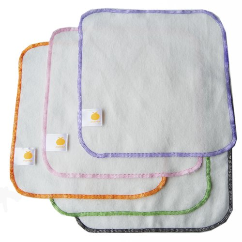 Satsuma Designs 5 Pack Organic Flannel Wash Cloths and Wipes