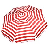 Heininger 1324 DestinationGear Italian Red and White 6' Acrylic Striped Beach Pole Umbrella