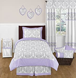 Amazon.com - Lavender, Gray and White Elizabeth Damask Print Girl ...