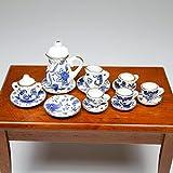 1:12 16PCS Blue Flower Patten Porcelain Coffee Tea Cup Miniature Dollhouse Gift