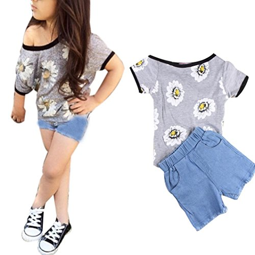 Ecosin® Kid Piece Pants Clothing Baby Girls Straps Rompers Jumpsuits (2 Year, Gray)