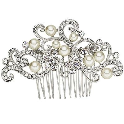 EVER FAITH® Silver-Tone Austrian Crystal Cream Simulated Pearl Floral Vine Bridal Hair Comb