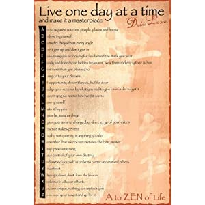 Dalai Lama Live One Day At A Time Art Poster Print