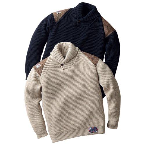 セーター ニット 長袖 メンズ 紳士用 ハリスツイード ウール 羊毛 英国製オックスフォードショールセーター 67972