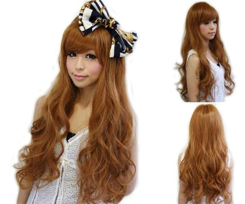 Cute Girls' Long Curly Wig (Model: Jf010578) (Light Brown)