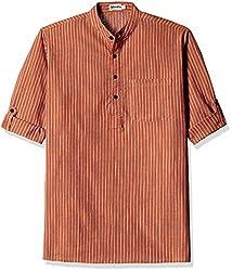 Fabindia Men's Mid-Thigh Cotton Kurta  (10423647_42_Orange and Blue)