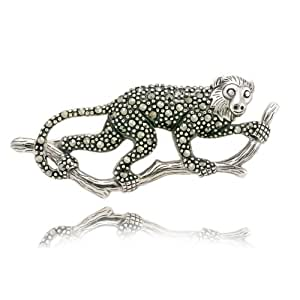 Sterling Silver Marcasite Capuchin Monkey Pin