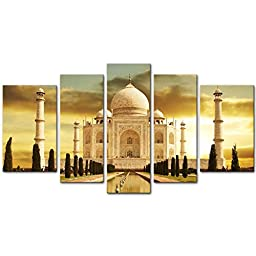 Canvas Print Wall Art Painting For Home Decor,White Marble Taj Mahal Palace In Agra India On Sunrise India Uttar Pradesh 5 Piece Panel Paintings Modern Giclee Stretched And Framed Artwork The Picture For Living Room Decoration,Landscape Pictures Photo Pri