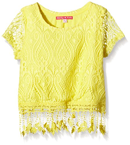 Derhy EDWIGE TEE SHIRT LACE-T-shirt  Bambina    Jaune (Jaune/Safran) 8 anni