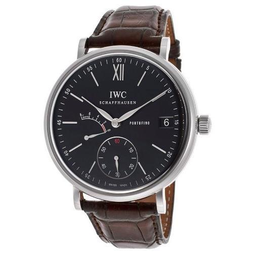 iwc-homme-45mm-bracelet-cuir-marron-boitier-acier-inoxydable-saphire-mecanique-cadran-noir-montre-iw