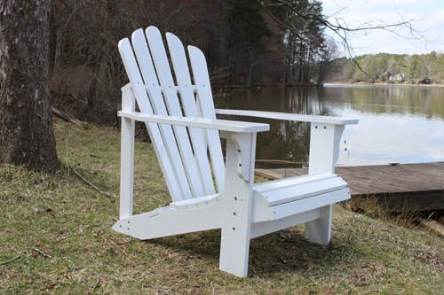 Painted White Cedar Outdoor Adirondack Chair Lounger with FREE OTTOMAN