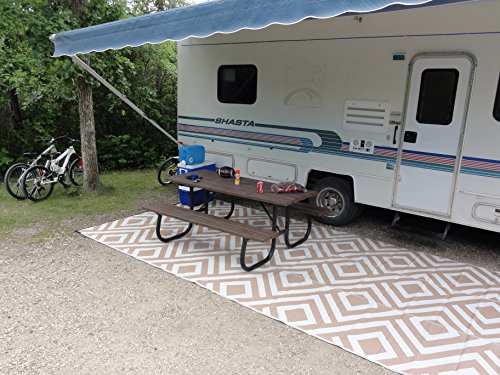 Delightful RV Camping Patio Mat Reversible Contemporary Geometric Design Outdoor