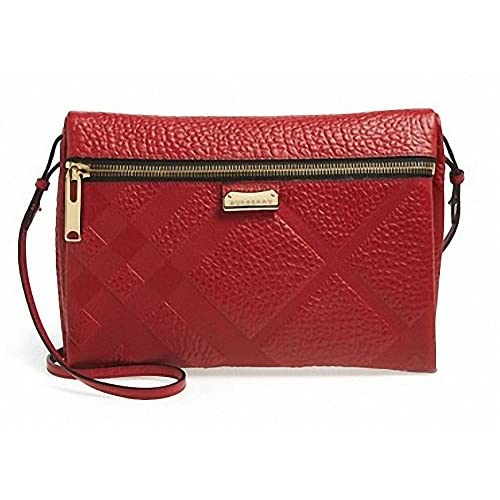 (バーバリー)Burberry 'Medium Balmoral' Textured Leather Convertible Crossbody Bag{並行輸入品}{BIBIYON} (Military Red)