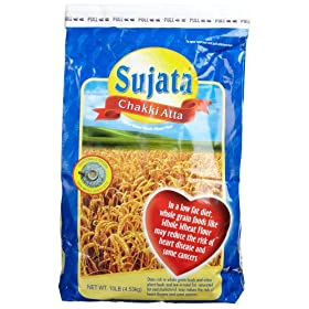 Sujata Chakki Atta, Whole Wheat Flour, 160-Ounce Bag