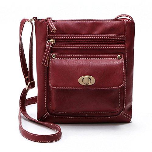 Longra Leather Satchel delle donne Crossbody spalla Messenger Bag (Rosso)