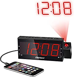 Mesqool Digital Dual Alarm FM/AM Dimmable Projection Clock Radio 1.8 Inch LED Display with USB Charging,Snooze,Sleep Timer,Battery Backup Functions