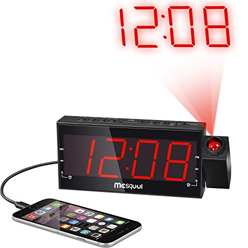 mesqool digital dual alarm fm dimmable projection clock radio 1 8 inch led di. Black Bedroom Furniture Sets. Home Design Ideas