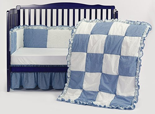 Baby Doll Gingaham/Eyelet Patchwork Crib Bedding Set, Blue, 4 Piece