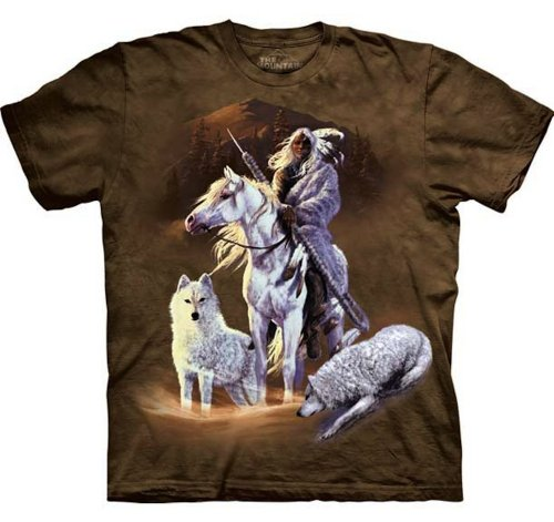 Companions Of The Hunt T-Shirt 100% Cotton Adults Shirt With Warrior Indian (Adult 2Xl) front-510664