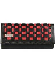 Quenchy London Mesh Women's Clutch Purse Women Wallet (Black,Red) (1603_black)