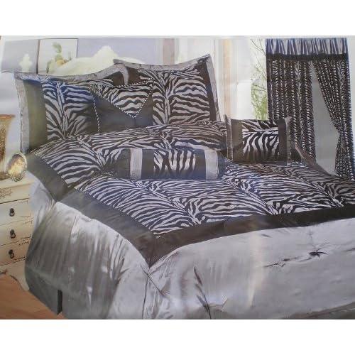 Amazon.com: Grey / Black Zebra Faux Silk Flock Printing Comforter ...