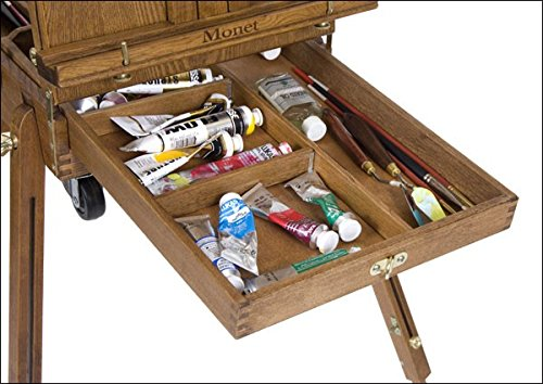 Creative Mark Monet Traveling French Style Wooden Art Easel & Sketchbox, Wood Artist Palette, Telescope Handle, Rolling Casters