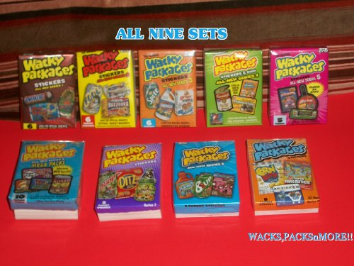 Wacky Packages Complete Sets of All Ans Sets,ans1,ans2,ans3,ans4,ans5,ans6,ans7,ans8,ans9 Total 9 Sets = 520 Sticker Cards. Wow!! (Wacky Packages Set compare prices)
