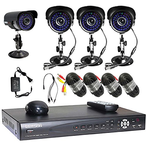 Cctv Security Surveillance 4 High Resolution Day Night Waterproof Ir Cameras 8 Channel H.264 Network 1000Gb Hard Drive Dvr Complete System