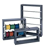 "Durham 384-95 Gray Cold-Rolled Steel Wire Spool Rack with 2 Rods, 26-1/8"" Width x 17-7/8"" Height x 6"" Depth"