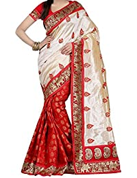 Sai Fab Women's Branded Indian Style Bhagalpuri Silk Red Printed Elegant Saree With Blouse Piece ( Best Present...