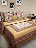 UniqChoice Jaipuri 100% Cotton New Styliner King Size Double BedSheet With 2 Pillow Cover