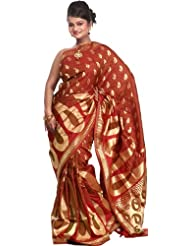 Exotic India Garnet Red Banarasi Sari With Handwoven Giant Paisleys All-Ov - Red