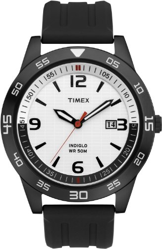 Timex Men's Quartz Watch with White Dial Analogue Display and Black Resin Strap T2N698PF