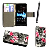 STYLEYOURMOBILE SONY XPERIA J ST26i PINK FLOWER DARK GREY CARD POCKET/MONEY MAGNETIC BOOK FLIP PU LEATHER CASE COVER POUCH + SCREEN PROTECTOR +STYLUS