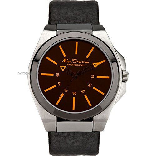 Ben Sherman Gents Analogue Orange Dial & Genuine Black Leather Strap Watch R921