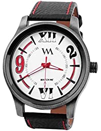 Watch Me White Dial Black Leather Watch For Men And Boys WMAL-086-R