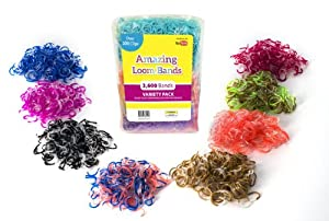 Amazing Loom Rubber Bands, 1,800 Pc Transparent Tie-dye Rubber Band Mega Value Refill Packs, 6 Bags of 300 Count All Assorted Colors, Includes 72 S Clips, 100% Latex and Lead Free
