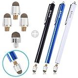 StickBy タッチペン スマートフォン用 スタイラス 高感度 導電繊維 ペン先交換式 3本+ペン先(3+1個) (ブルー+ブラック+ホワイト) SB-TP3-001