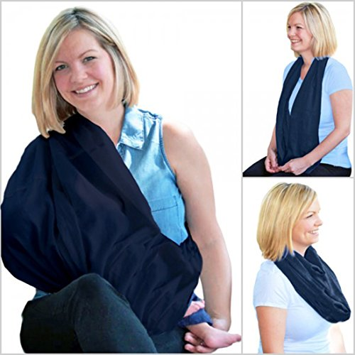 Nursing Cover in Softest Bamboo (ZERO Polyester) for Smart, Chic Breastfeeding - 360 Coverage, Easy, Best Fits All Sizes - Organic Baby-Gentle Infinity Scarf: 10 Gorgeous Colors - Ideal Gift (Navy)