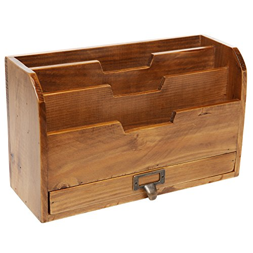 3 tier country rustic vintage wood office desk file - Desk organizer sorter ...