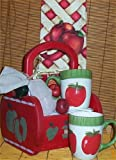Apple Solid Wood Gift Basket Mugs Candy Tea Kitchen New